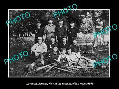 LARGE OLD HISTORIC PHOTO OF LOVEWELL KANSAS, THE TOWN BASEBALL TEAM c1910