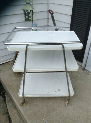 Vtg Cosco 3 Tier Bar Cart Serving Buffet Rolling Speckled Wheels white Shelfs