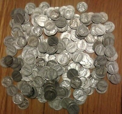 Lot of 200 Mercury Silver Dimes - 90% - $20 Face