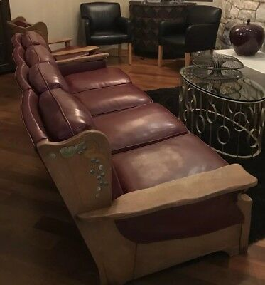 """Rare MONTEREY 100"""" 4-Seat Sofa w/  Painted Design and Original Maroon Upholstery"""