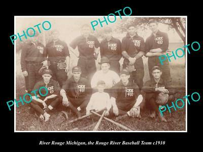 LARGE OLD HISTORIC PHOTO OF ROUGE RIVER MICHIGAN, THE TOWN BASEBALL TEAM c1910