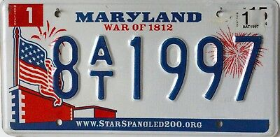 """USA Number Licence Plate MARYLAND """"WAR OF 1812"""""""