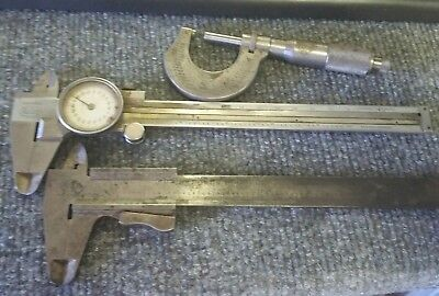 """Vintage German Helios Dial Calipers 16cm and 0-1"""" micrometer additional caliper"""