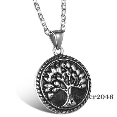 Vintage Celtic Tree Of Life Stainless Steel Charm Pendant Men Women Necklace 22""