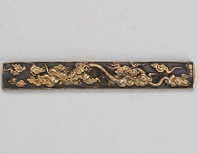 "Antique Handle of Knife KOZUKA ""Golden Dragon"" Japanese Sword Kogatana Koshirae"