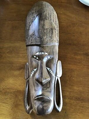 Wooden And Paua Shell Tribal Mask - Dolphin