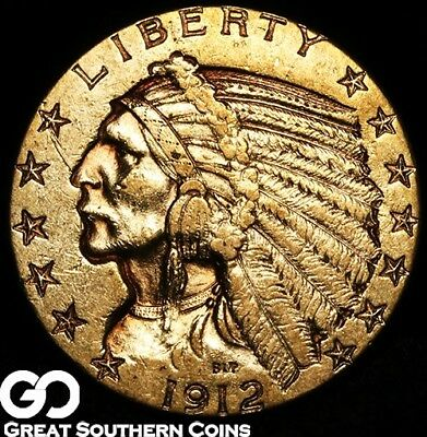 1912 Half Eagle, $5 Gold Indian, Choice Uncirculated++ ** Free Shipping!