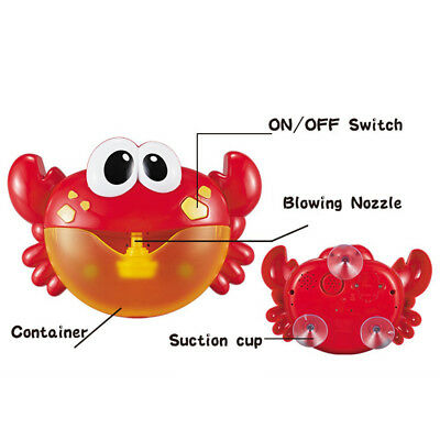 Crab Bubble Maker Machine Musical Bubble Automated Bath Baby Shower Fun Time Toy