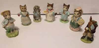Lot of 7 Vintage Beatrix Potter Beswick and Royal Doulton Ceramic Figurines