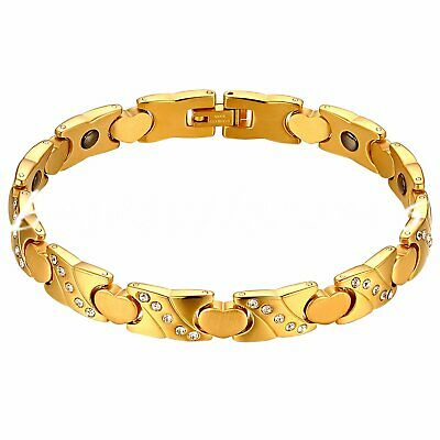 Women Stainless Steel Magnetic Therapy Bracelet Heart Hematite Balance Wristband