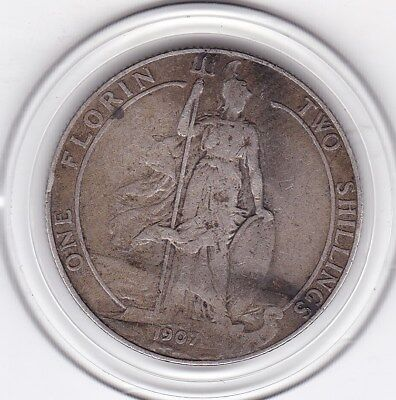 1907   King  Edward  VII  Florin  (2/-)  Sterling  Silver (92.5%)  Coin