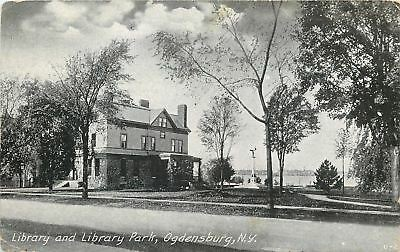 Ogdensburg New York~Library & Library Park~Monument~1910 B&W Postcard