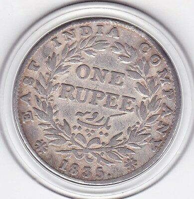 1835  One  Rupee  India - British  Silver Coin