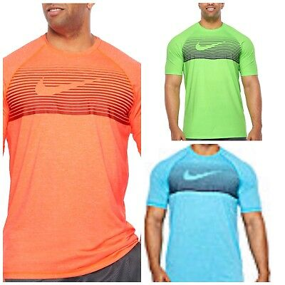 Nike Blue Black Short Sleeve Dri Fit Hydroguard Top Light Blue Fury S