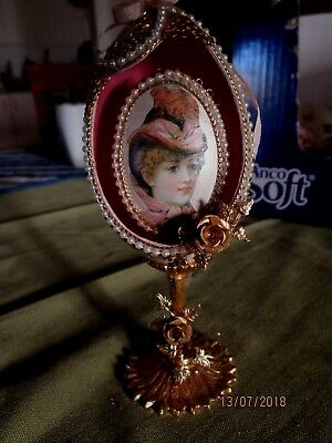 Faberge Eggs-Hand Crafted.vertical Cameo Rose Lady Inside.vgc.gold Metal Trims