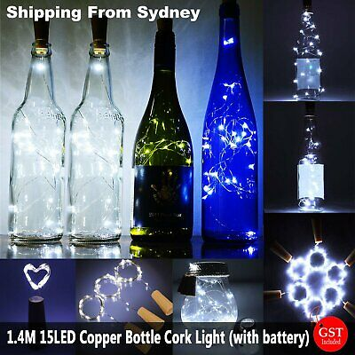 UP 20x 1.4M 15LED Copper Wire Wine Bottle Cork Battery String Lights Xmas Gift D