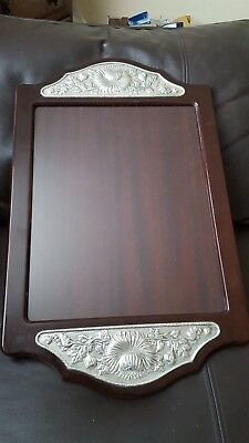 Antique 19th century tray veneered with Scottish thistle 925 silver mouldings.