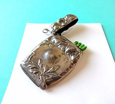 Vintage / Antique Sterling Silver Repousse Match Safe Vesta Case