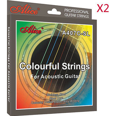 2 Set Alice Multi-Colored Steel String A407C-SL Colorful Acoustic Guitar Strings