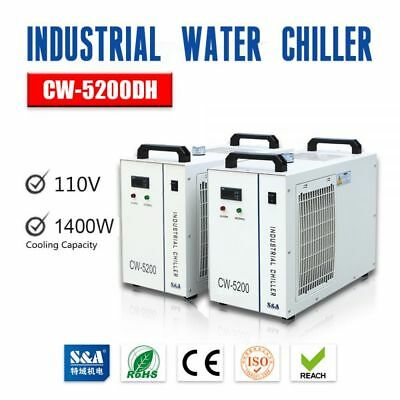 S&A 110V CW-5200DG Water Chiller for 130/150W CO2 Laser Tube Cooling 60Hz