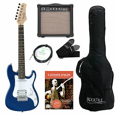 Electric Guitar Junior Package Amplifier Cable Gigbag Strings Strap Set Blue