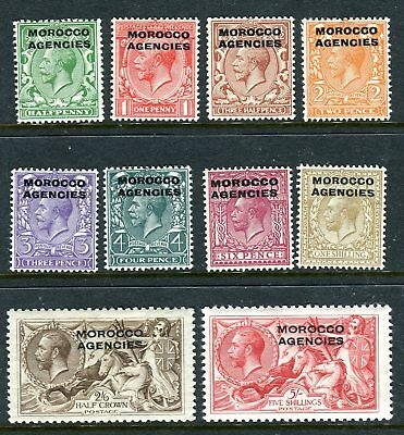 MOROCCO AGENCIES-1914-31  A lightly mounted mint set of 10 Sg 42-54