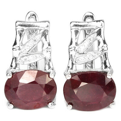 Genuine 10X8 Mm. Oval Aaa Blood Red Ruby & White Cz Sterling 925 Silver Earring