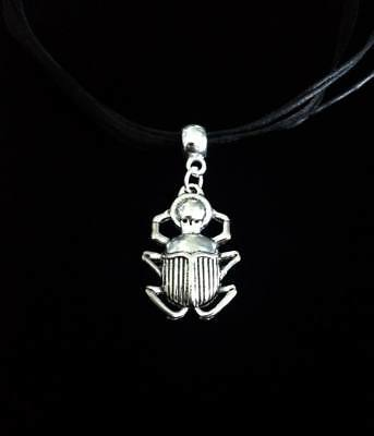 No.9 Scarab Beetle Necklace (Cord, Insect, Ribbon, Egyptian, Pyramids, Egypt)