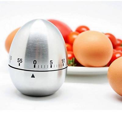 Stainless Steel Egg Shaped Kitchen Timer Mechanical Rotating Alarm Cooking Tool