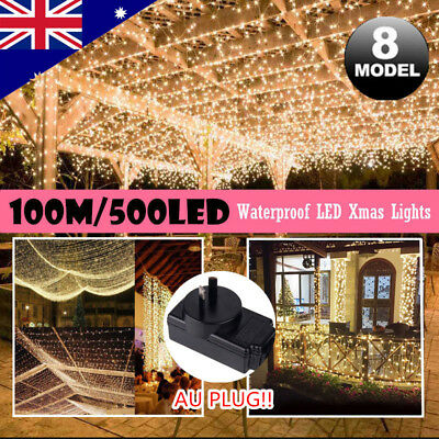 500LED 100M Warm White Fairy Christmas String Strip Lights Party Outdoor Garden