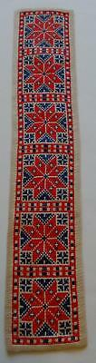 Swedish Xmas: Hand-cross-stitched runner, blue and red star pattern on lt beige