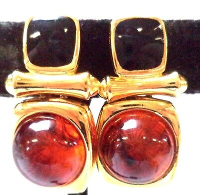 """Stunning Vintage Estate Signed Joan Rivers Gold Tone 1"""" Clip Earrings!!! 1500T"""