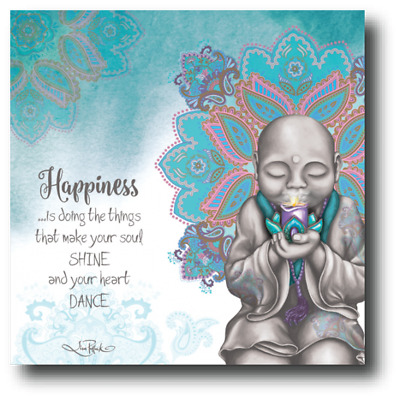 Happiness From the Soul Monk LED Stretch Canvas by Lisa Pollock