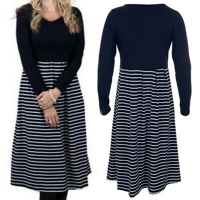 Dress Winter Pregnant Maternity Breastfeeding Striped Long Sleeve Women Fashion
