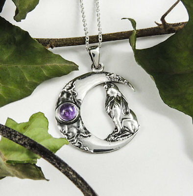Sterling Silver & Amethyst. Moon Gazing Hare & Chain