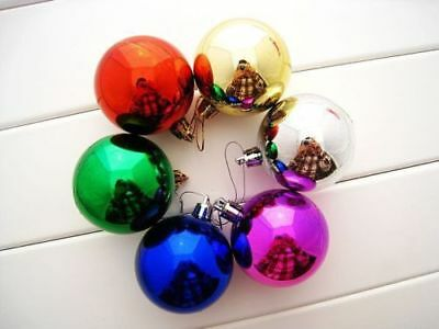 Fashion Plastic Round Ball Christmas Lovely Bauble Gift Present Xmas Tree Craft