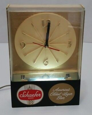 Vintage Lighted Schaefer Beer Table or Shelf Clock Mancave Brewing  Bar  SH