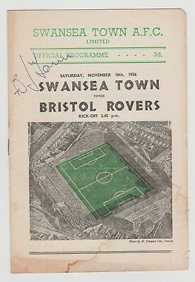 Swansea Town V Bristol Rovers 1956 Programme Autographed By Bobby Jones
