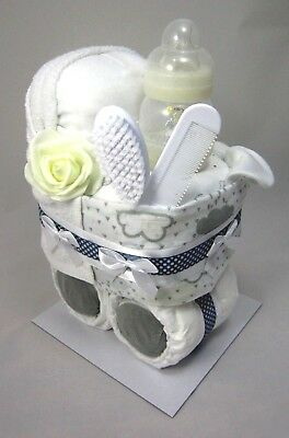 Deluxe White&Grey Nappy Cake Pram Maternity Leave New Born Baby Shower Gift