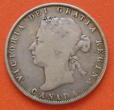 CANADA 1872-H Inverted A/V FIFTY CENTS 50c HALF DOLLAR SILVER COIN - NICE GRADE