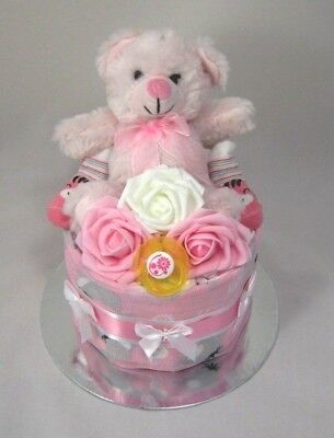 1 Tier BabyGirl  Nappy Cake with Teddy Maternity Leave New Born Baby Shower Gift