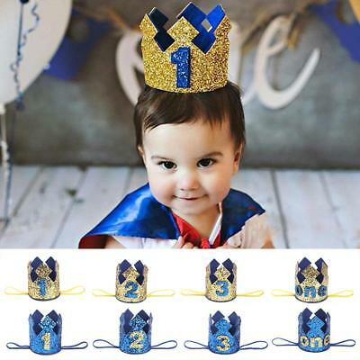 Boy 1st 2 3 Year Old Birthday Party Hat Glitter Prince Crown Hair Accessories UK
