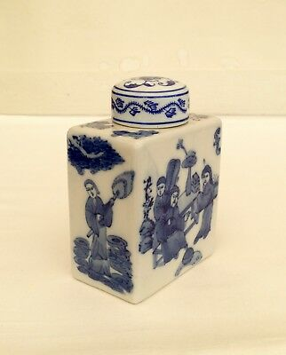 Vintage Chinese Porcelain Blue And White Tea Caddy 5 Ins Tall Tea Container