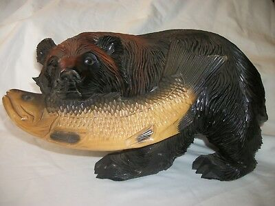 One Vintage Japanese Hand Carved Wooden Bear With A Fish ( See Photo's)