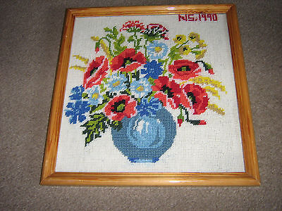 """Beautiful  Framed Tapestry Picture Of Vase Flowers   (N.s 1990) 13 X 13 """" Free P"""