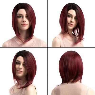 Black Red Heat Resistant Synthetic Hair Straight Short BOB Wig for Lady J@