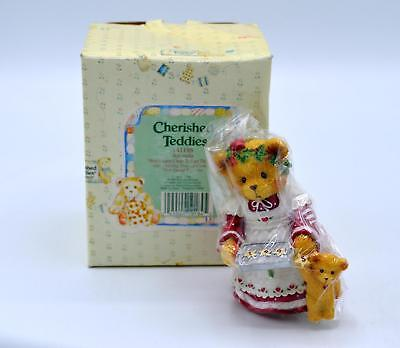 Cherished Teddies Figurine 141186 - Amanda - Here's Some Cheer To Last The Year