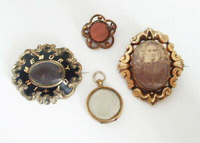 Antique / Vintage x 4 Mourning Brooches Victorian / Edwardian - Gold - Metal