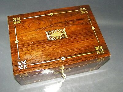Antique Rosewood Document Box Working Lock & Key C1870  Inlaid Mother Of Pearl
