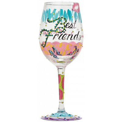 """Lolita """"Best Friends Always"""" Hand Painted Wine Glass in a Gift Box - NEW"""